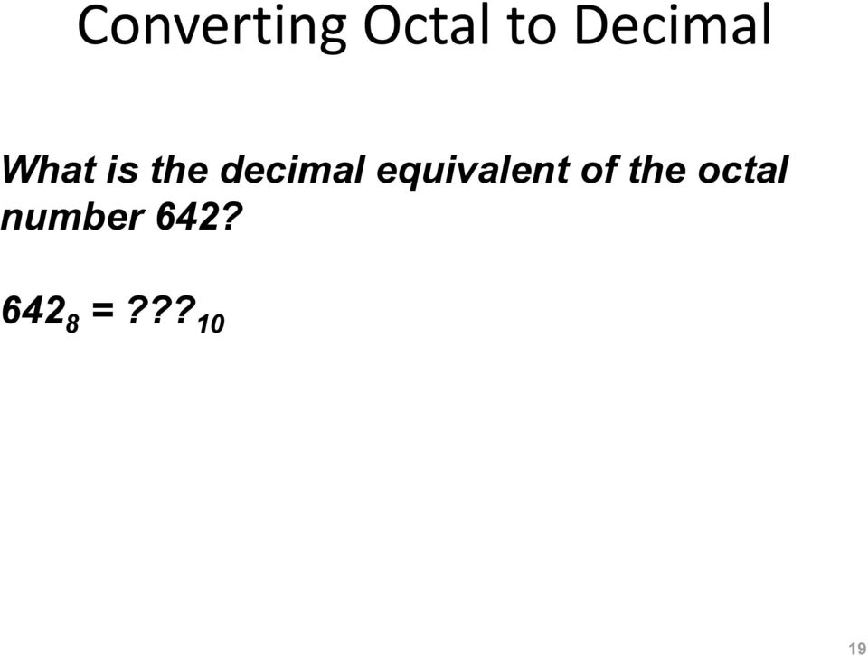 decimal equivalent of the