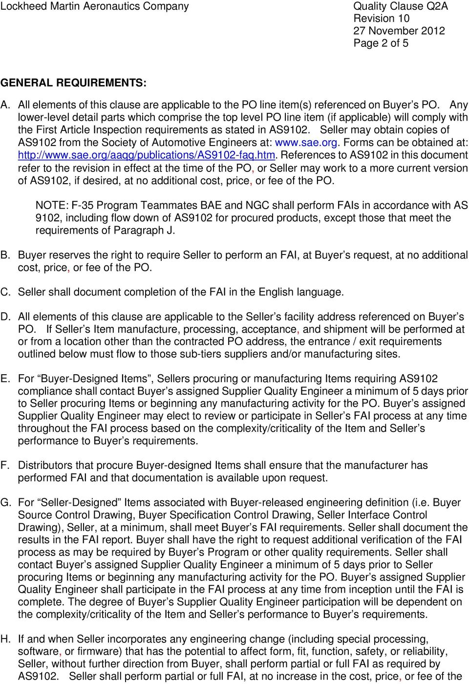 Q2a First Article Inspection Fai As9102 Revised Added