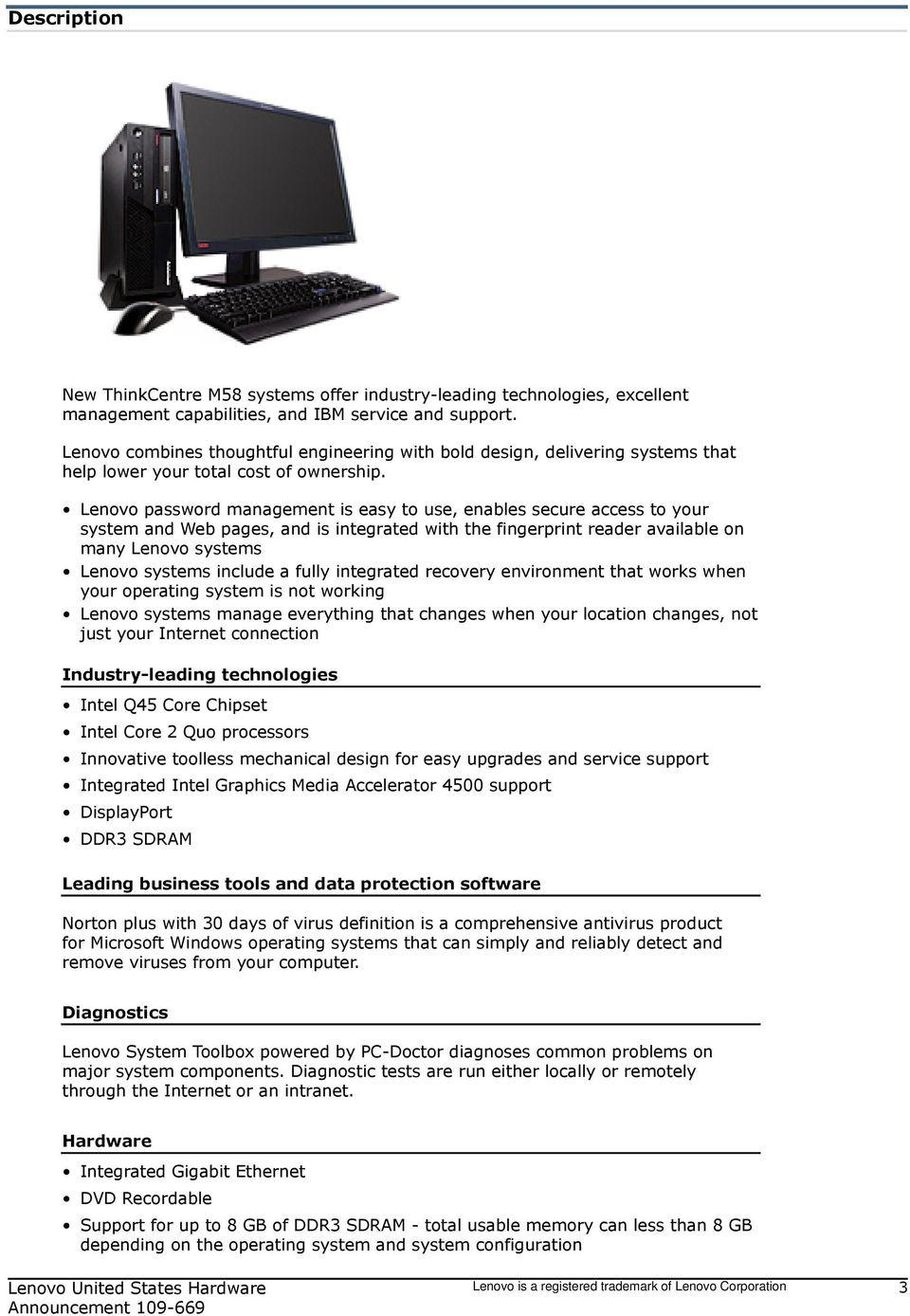 New ThinkCentre M58p models support Microsoft Windows 7 - PDF