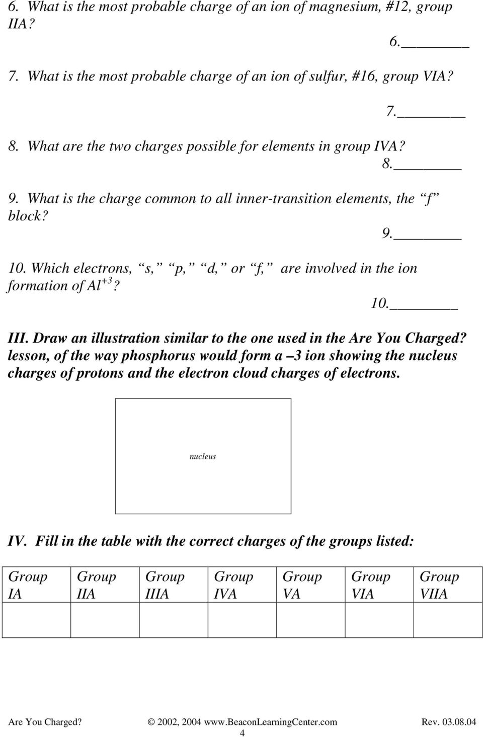 Which electrons, s, p, d, or f, are involved in the ion formation of Al +3? 10. III. Draw an illustration similar to the one used in the Are You Charged?