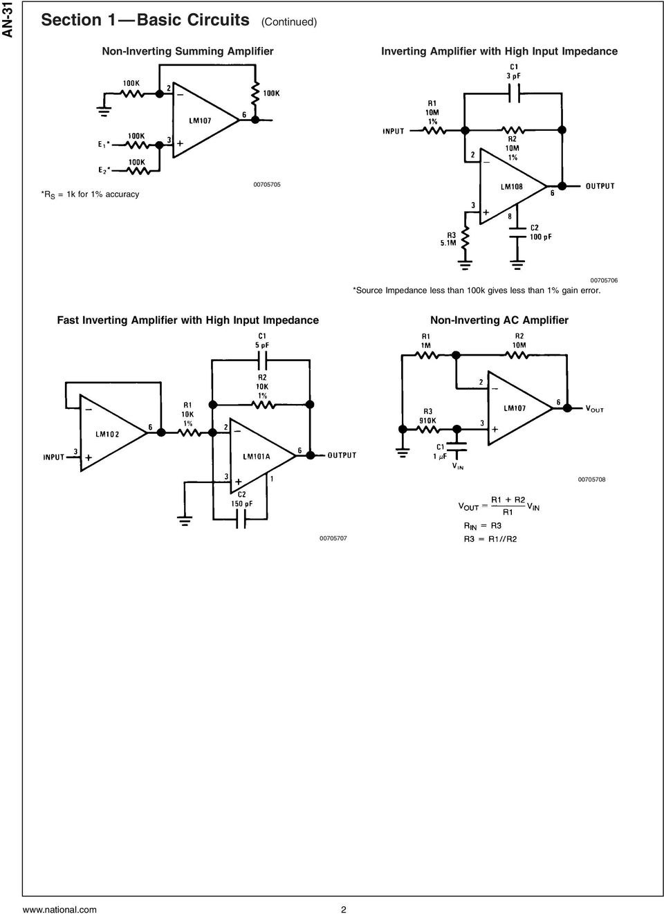 Op Amp Circuit Collection Pdf Sine Wave To Ttl Converter Diagram Source Impedance Less Than 100k Gives 1 Gain Error