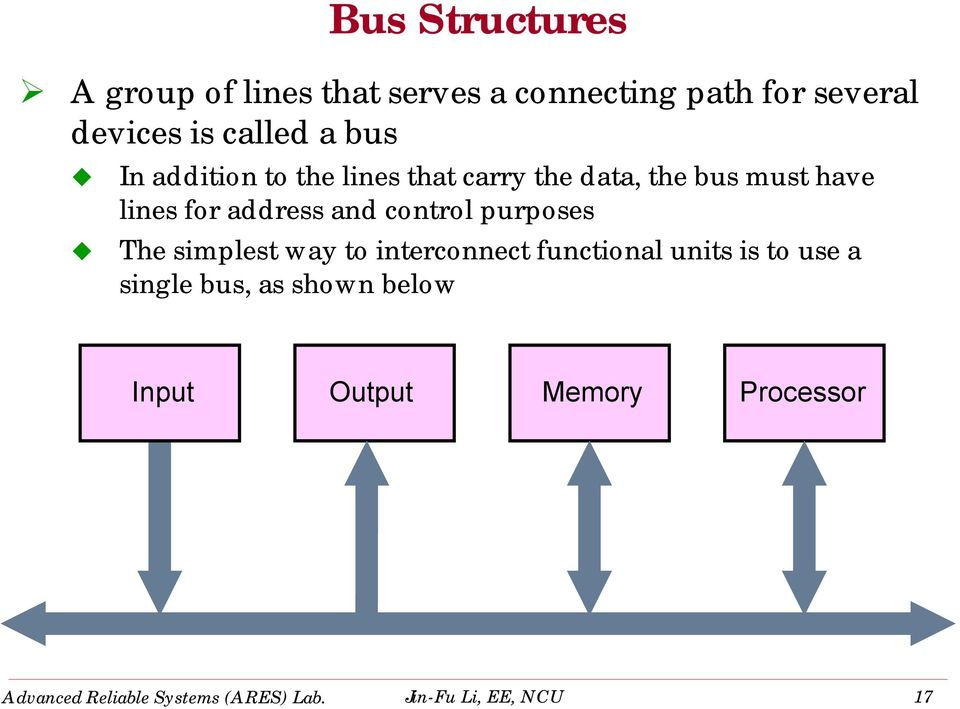 control purposes The simplest way to interconnect functional units is to use a single bus, as