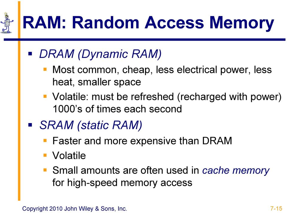 second SRAM (static RAM) Faster and more expensive than DRAM Volatile Small amounts are