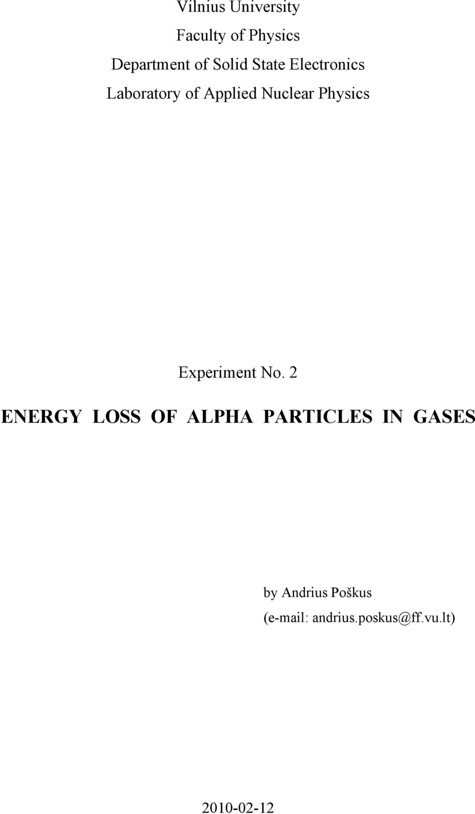 Energy Loss Of Alpha Particles In Gases Pdf