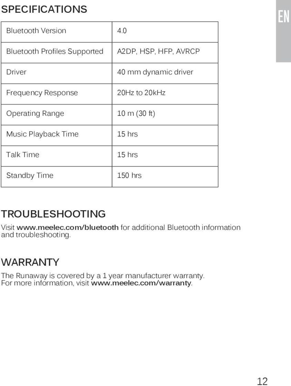 A2DP, HSP, HFP, AVRCP 40 mm dynamic driver 20Hz to 20kHz 10 m (30 ft) 15 hrs 15 hrs 150 hrs TROUBLESHOOTING Visit www.