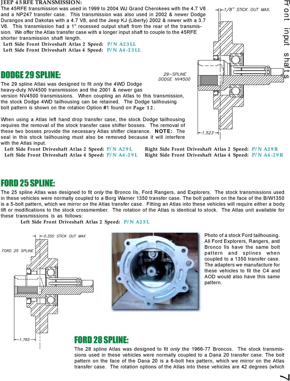 Atlas Specifications Pdf Nv4500 5 Speed Transmission Case Diagram This Had A 1 Recessed Output Shaft From The Rear Of