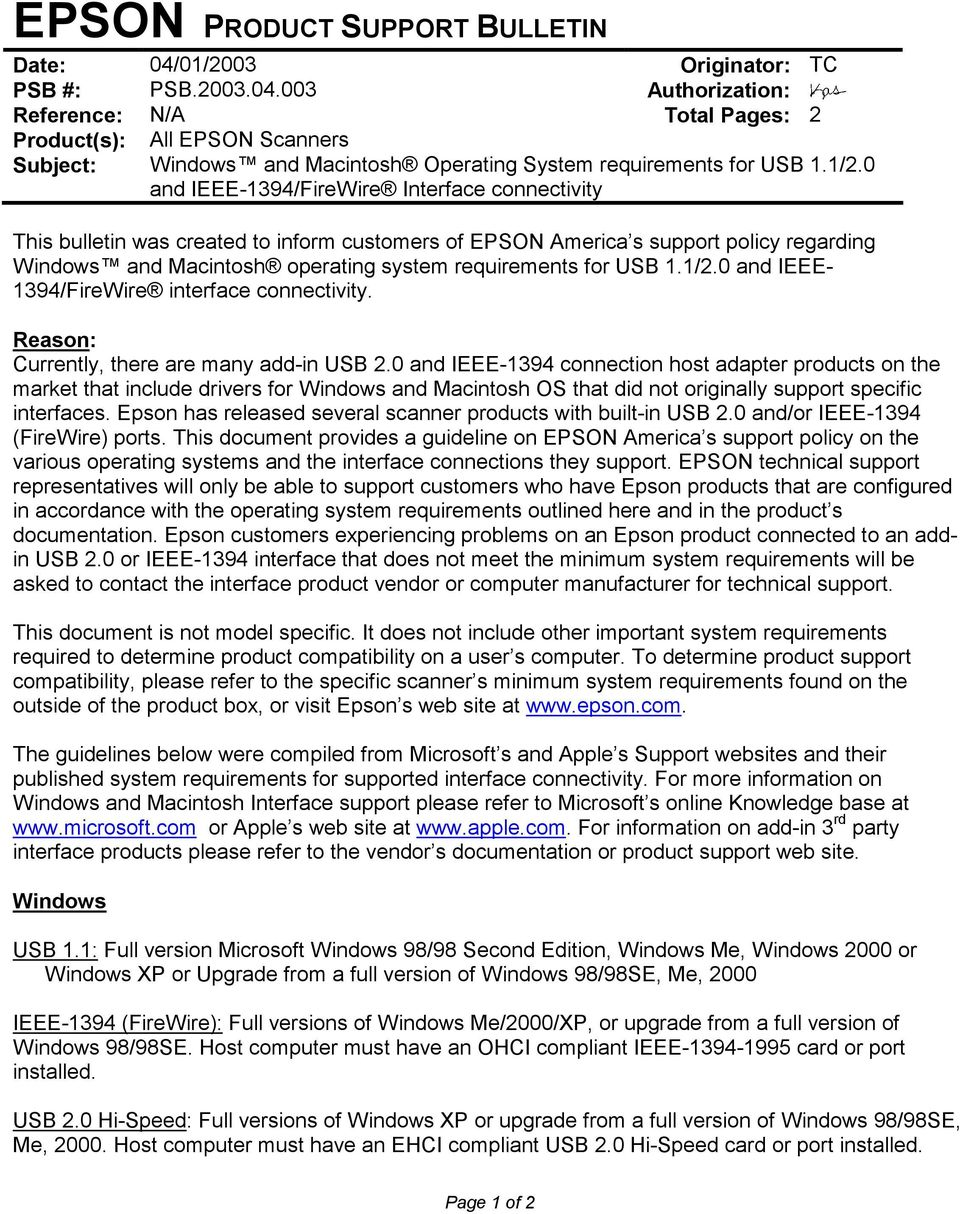 EPSON Product Support Bulletin - PDF