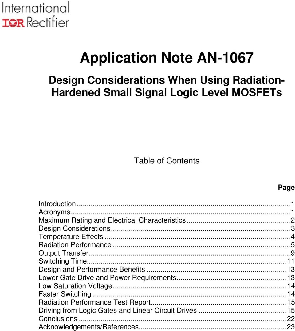 Application Note An Pdf Mosfet Test Circuit 5 Output Transfer9 Switching Time11 Design