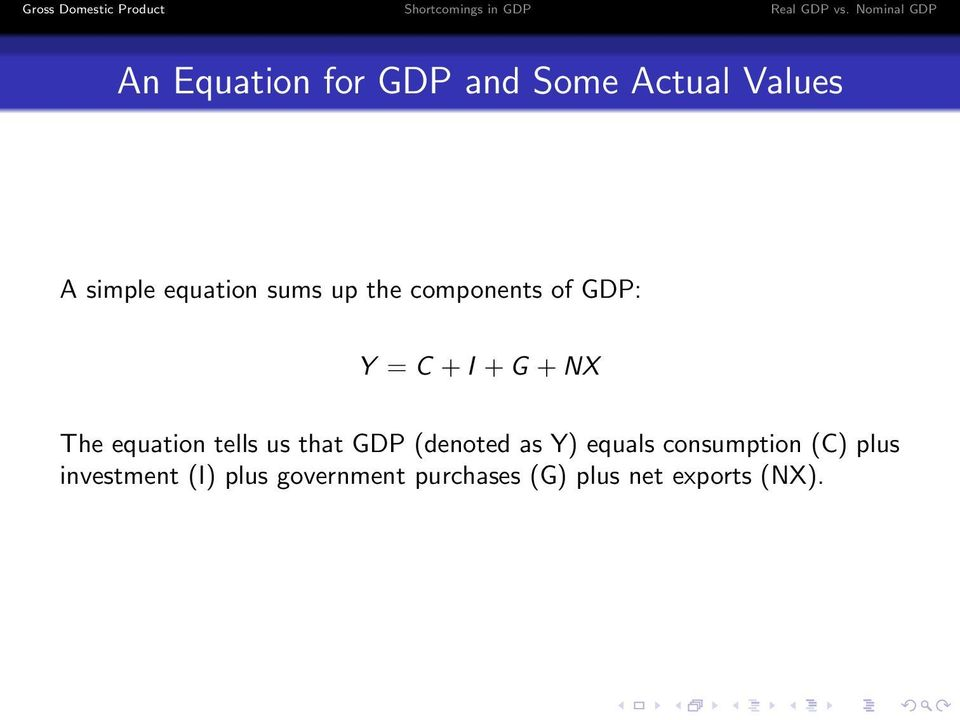 tells us that GDP (denoted as Y) equals consumption (C) plus