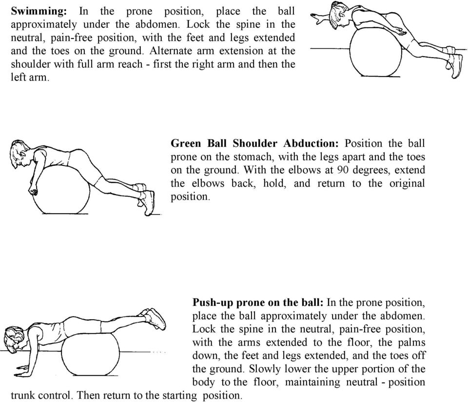 Green Ball Shoulder Abduction: Position the ball prone on the stomach, with the legs apart and the toes on the ground.