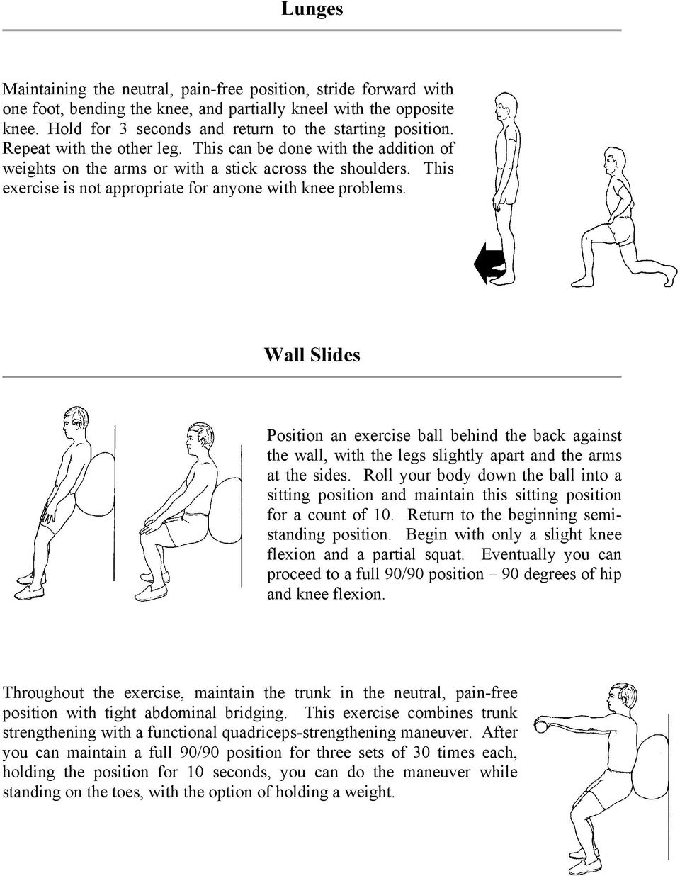 Wall Slides Position an exercise ball behind the back against the wall, with the legs slightly apart and the arms at the sides.