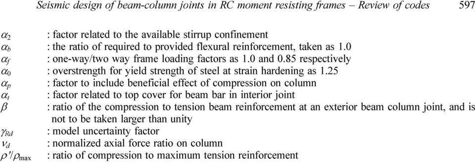 Seismic design of beam-column joints in RC moment resisting