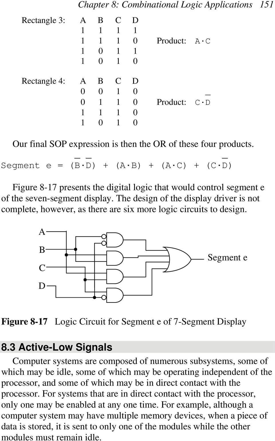 The design of the display driver is not complete, however, as there are six more logic circuits to design. C Segment e D Figure 8-7 Logic Circuit for Segment e of 7-Segment Display 8.