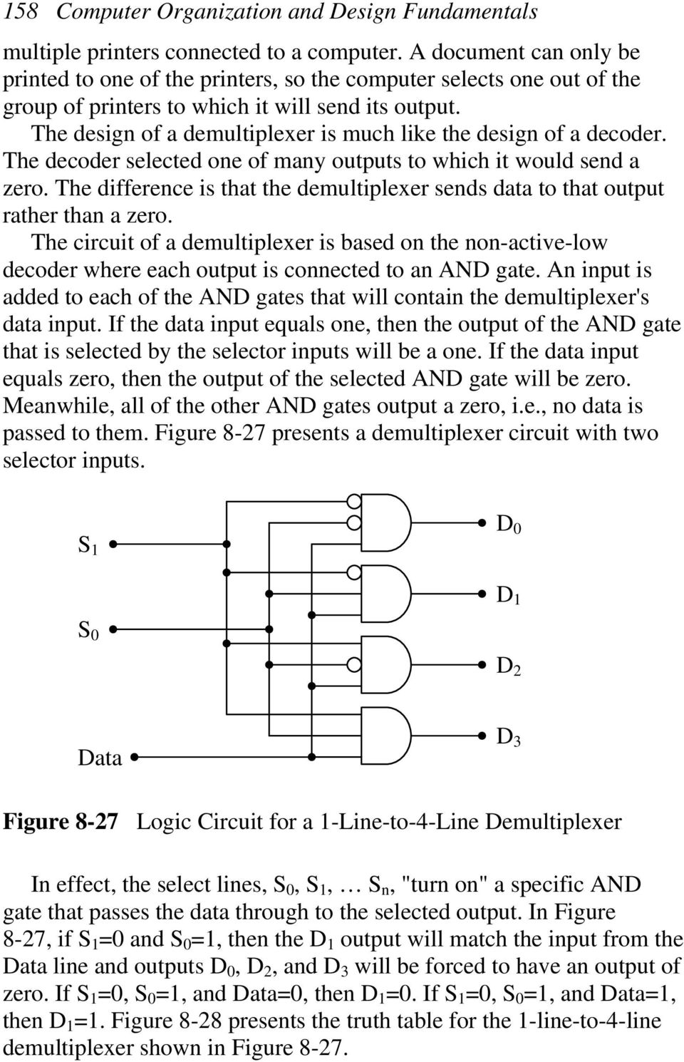 The design of a demultiplexer is much like the design of a decoder. The decoder selected one of many outputs to which it would send a zero.