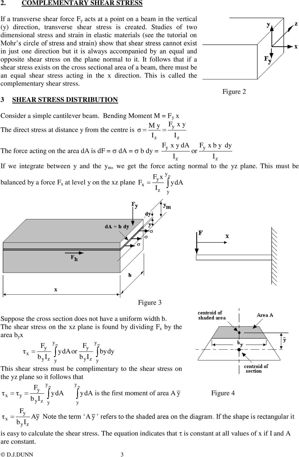 Mechanics Of Solids Beams Tutorial 4 Complementary Cantilever Beam Moment Diagram Picture Accompanied B An Equal And Opposite Shear Stress On The Plane Normal To It