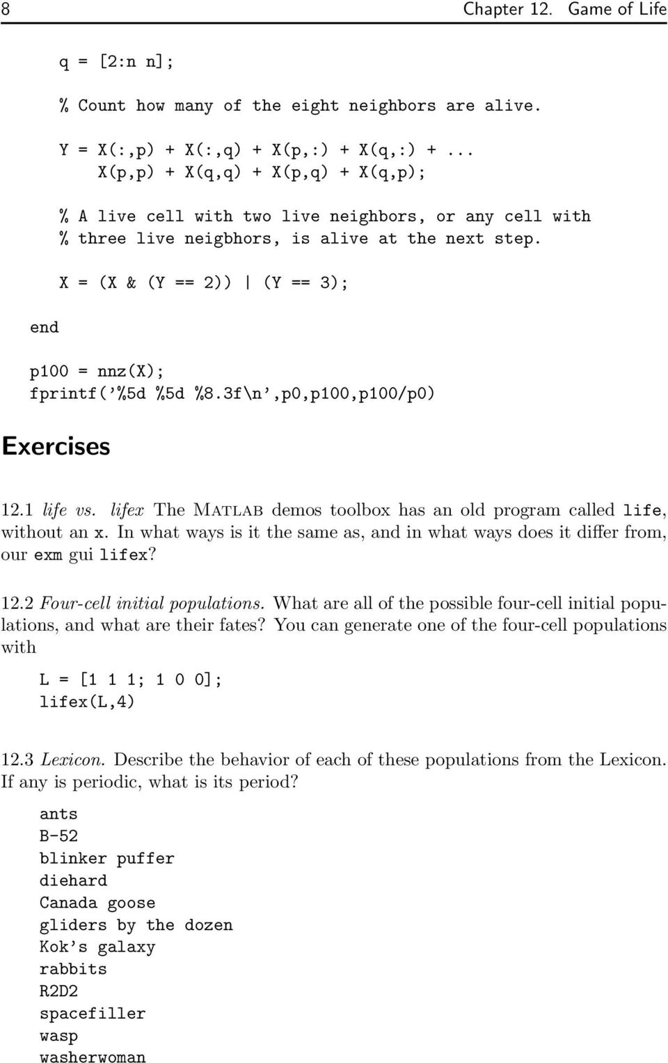 Conway s Game of Life makes use of sparse matrices  - PDF