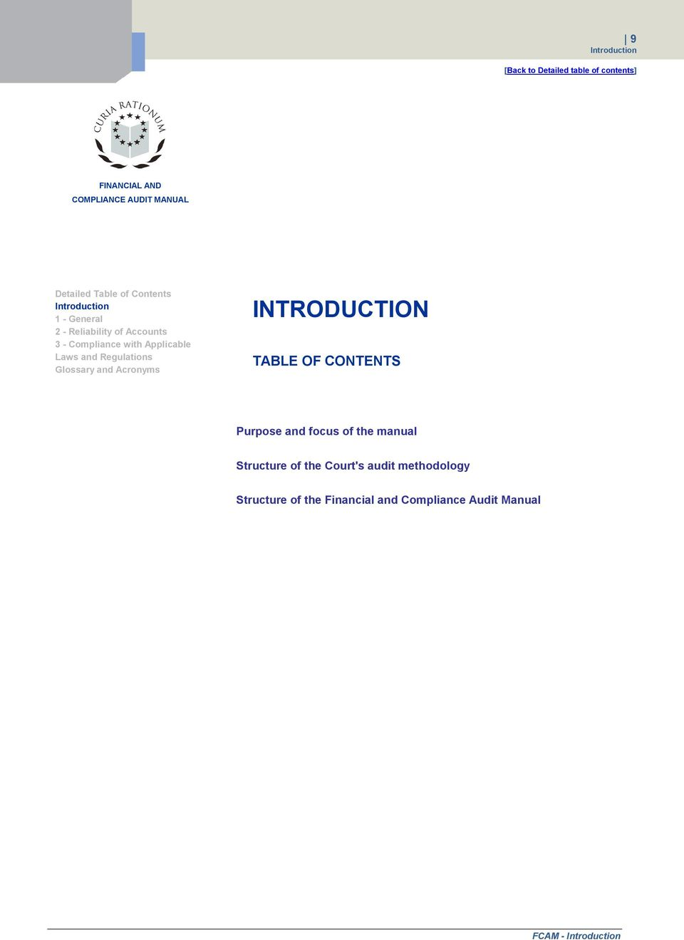 and Acronyms INTRODUCTION TABLE OF CONTENTS Purpose and focus of the manual  Structure of the