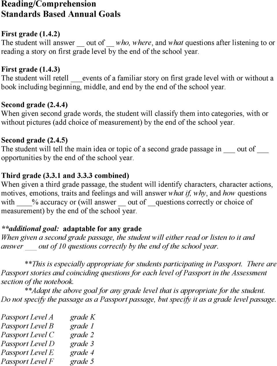 Readingfluency Standards Based Annual Goals Pdf