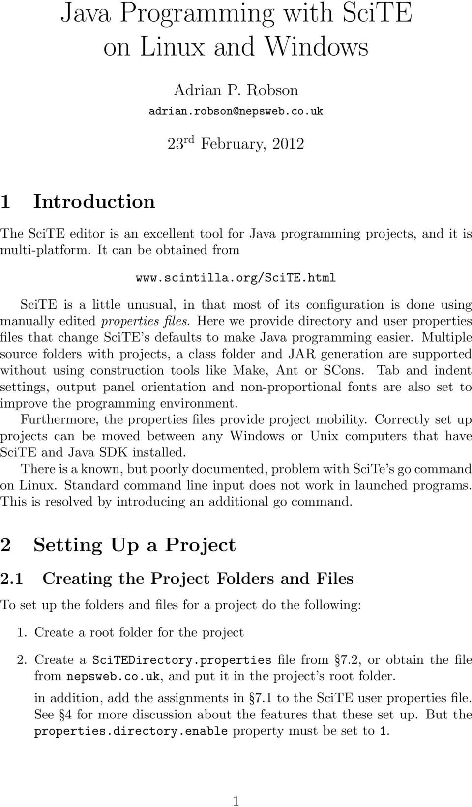 Java Programming with SciTE on Linux and Windows - PDF