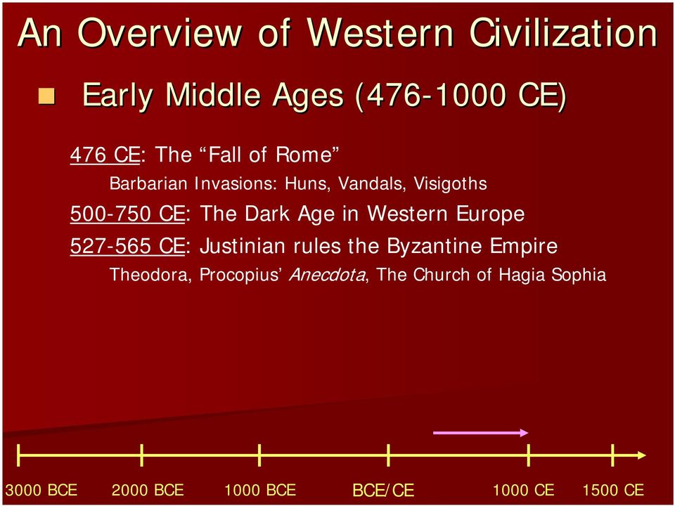 Dark Age in Western Europe 527-565 CE: Justinian rules the