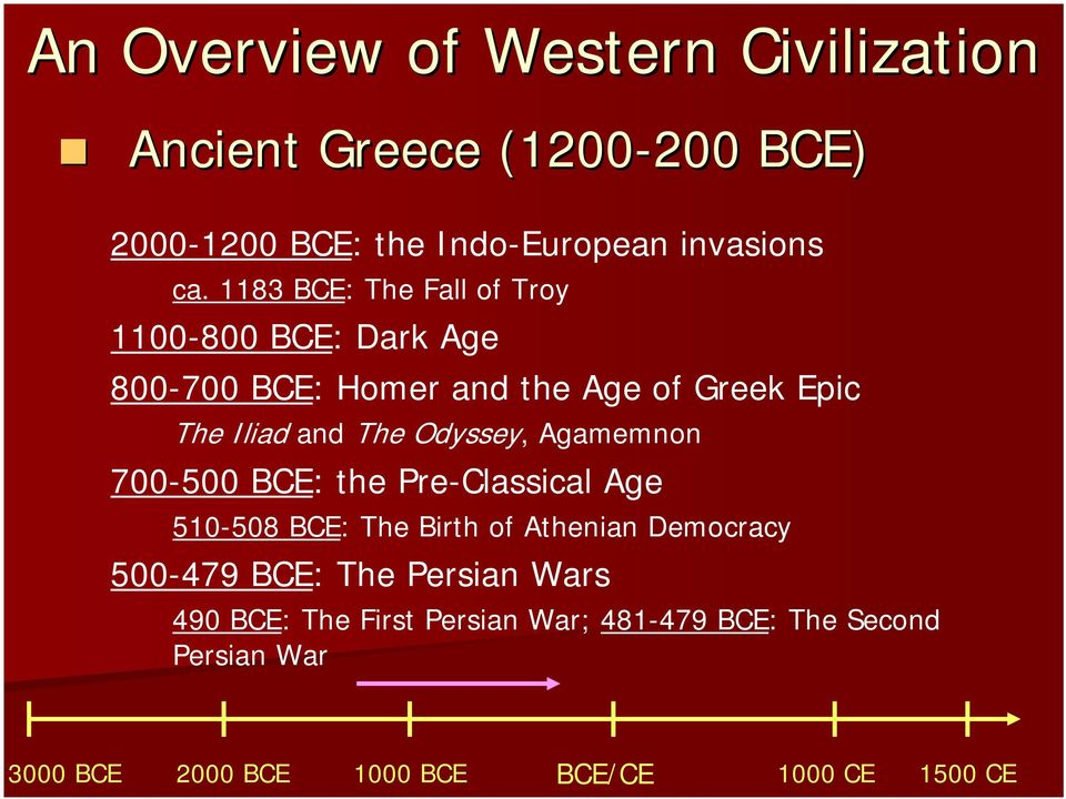 The Iliad and The Odyssey, Agamemnon 700-500 BCE: the Pre-Classical Age 510-508 BCE: The Birth