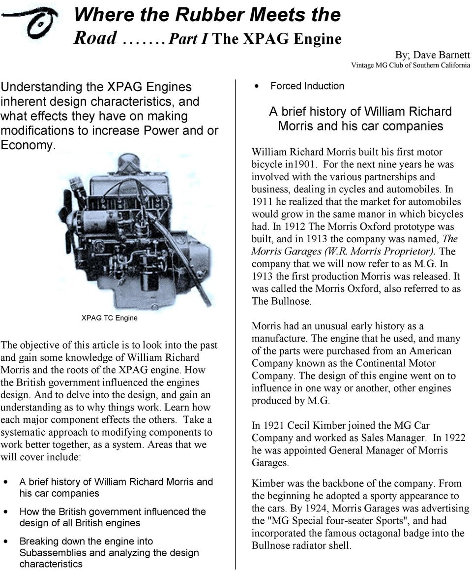 Where the Rubber Meets the Road  Part I The XPAG Engine By
