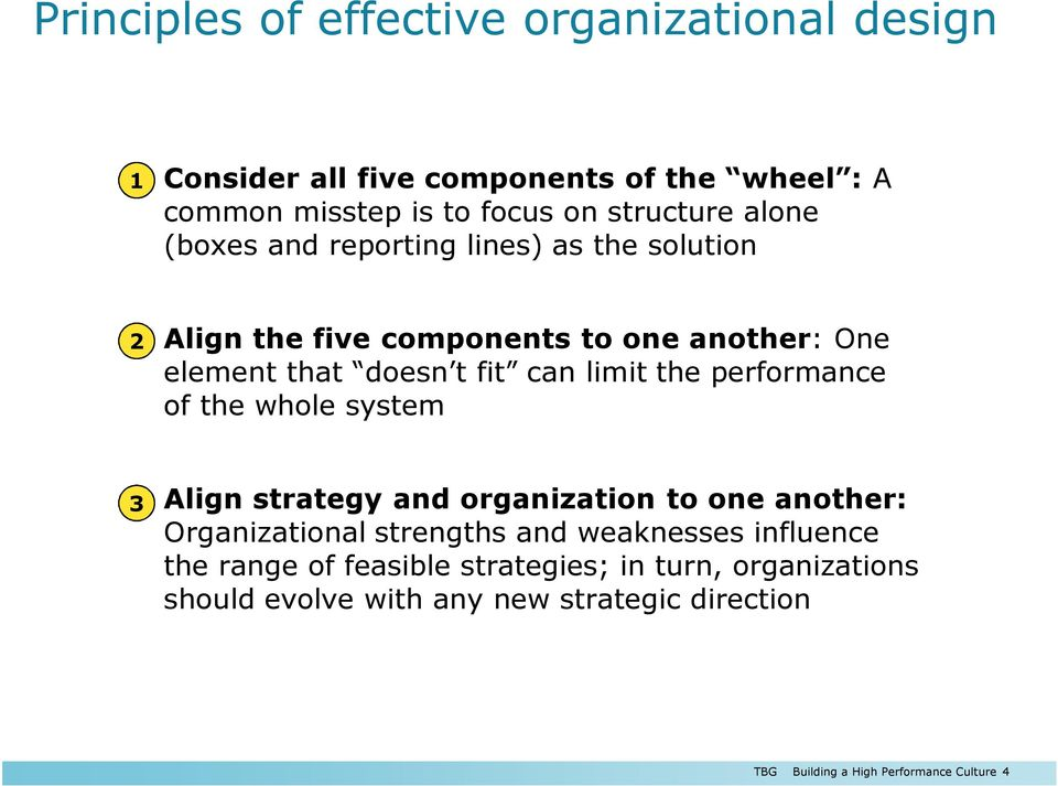 the performance of the whole system 2 Align strategy and organization to one another: Organizational strengths and weaknesses influence