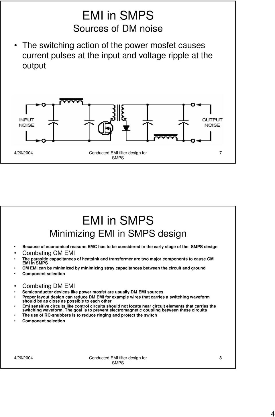 Conducted Emi Filter Design For Smps Pdf Noise Circuit By Minimizing Stray Capacitances Between The And Ground Component Selection Combating Dm Semiconductor Devices