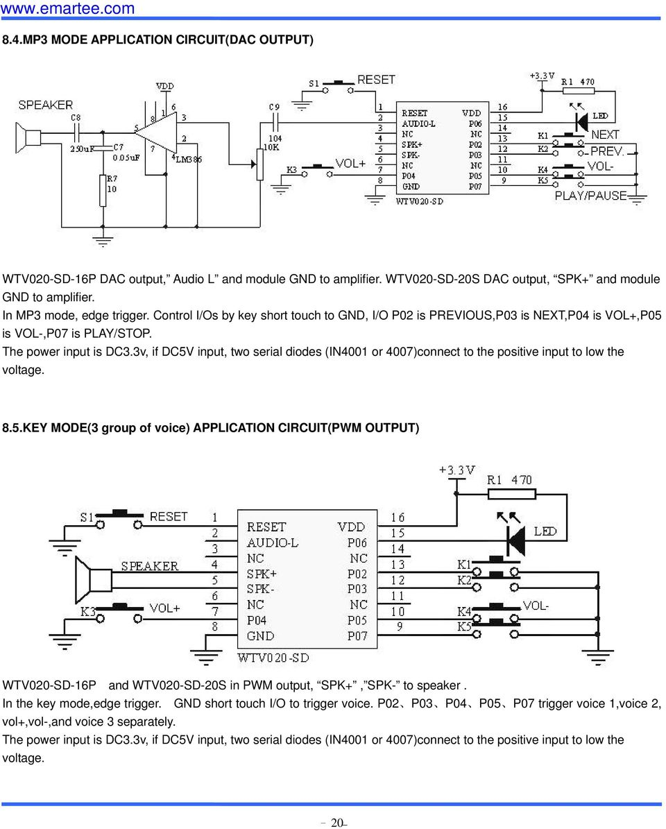 Wtv020 Sd Module 20s And 16p Pdf Circuitdiagramtointerfacebluetoothwith8085 3v If Dc5v Input Two Serial Diodes In4001 Or 4007connect To