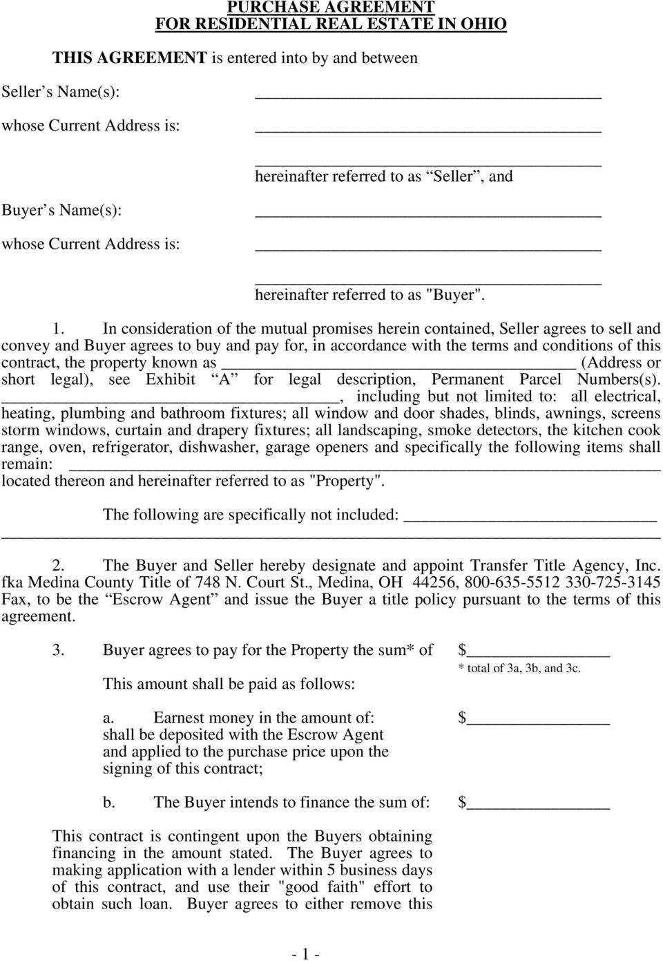 Purchase Agreement For Residential Real Estate In Ohio This