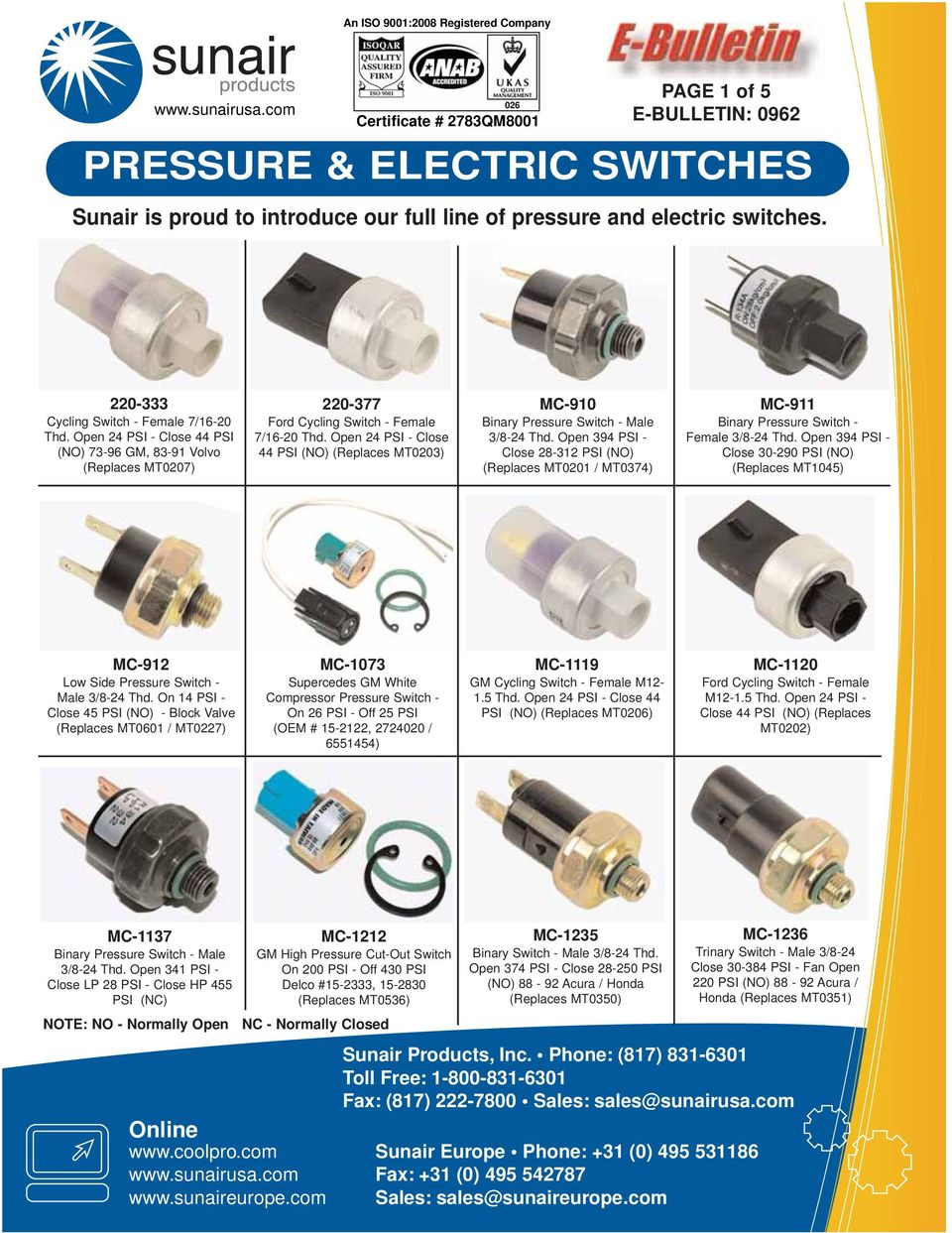 PRESSURE & ELECTRIC SWITCHES - PDF