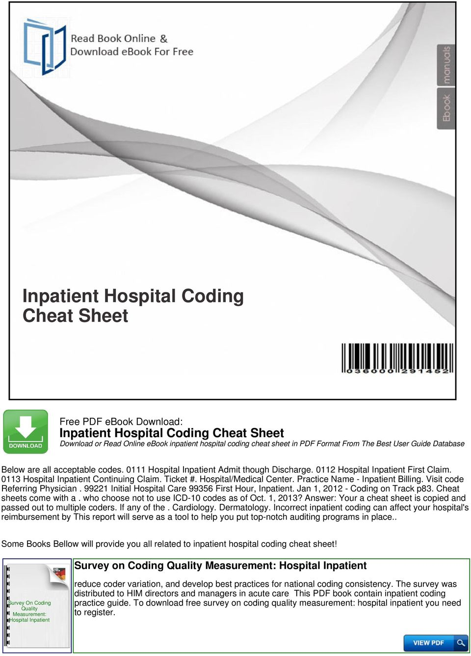 Inpatient hospital coding cheat sheet pdf visit code referring physician 99221 initial hospital care 99356 first hour inpatient jan 2 pcp coding cheat sheet fandeluxe Image collections