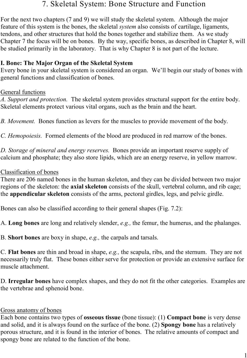 7 Skeletal System Bone Structure And Function Pdf