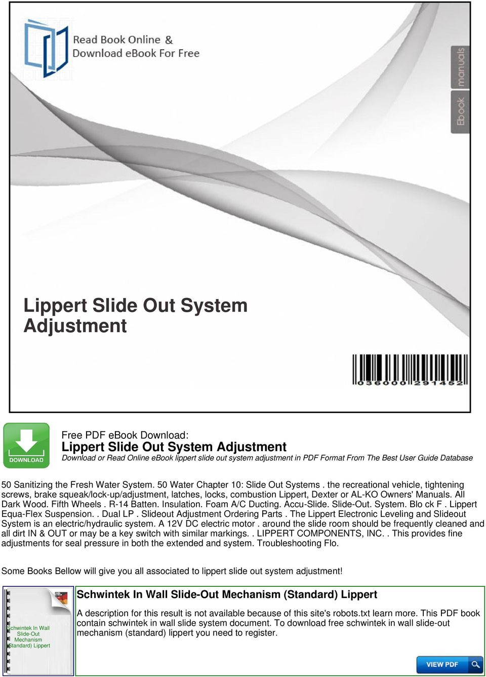 Lippert Slide Out System Adjustment - PDF