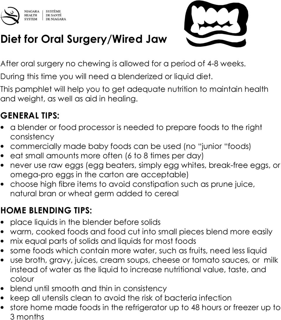 Wired Jaw Diet | Diet For Oral Surgery Wired Jaw Pdf