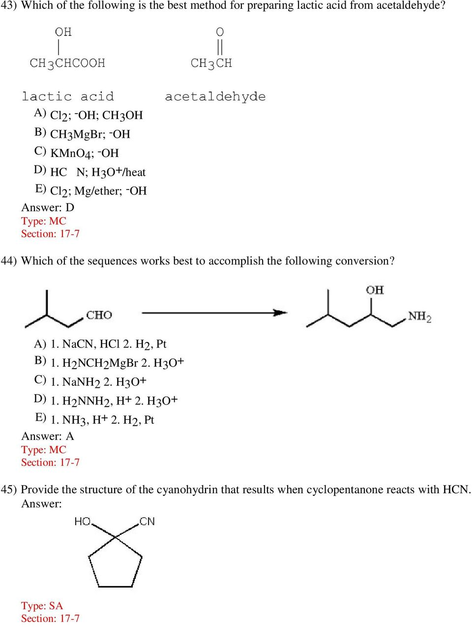 Organic Chemistry, 5e (Bruice) Chapter 17: Carbonyl Compounds II - PDF
