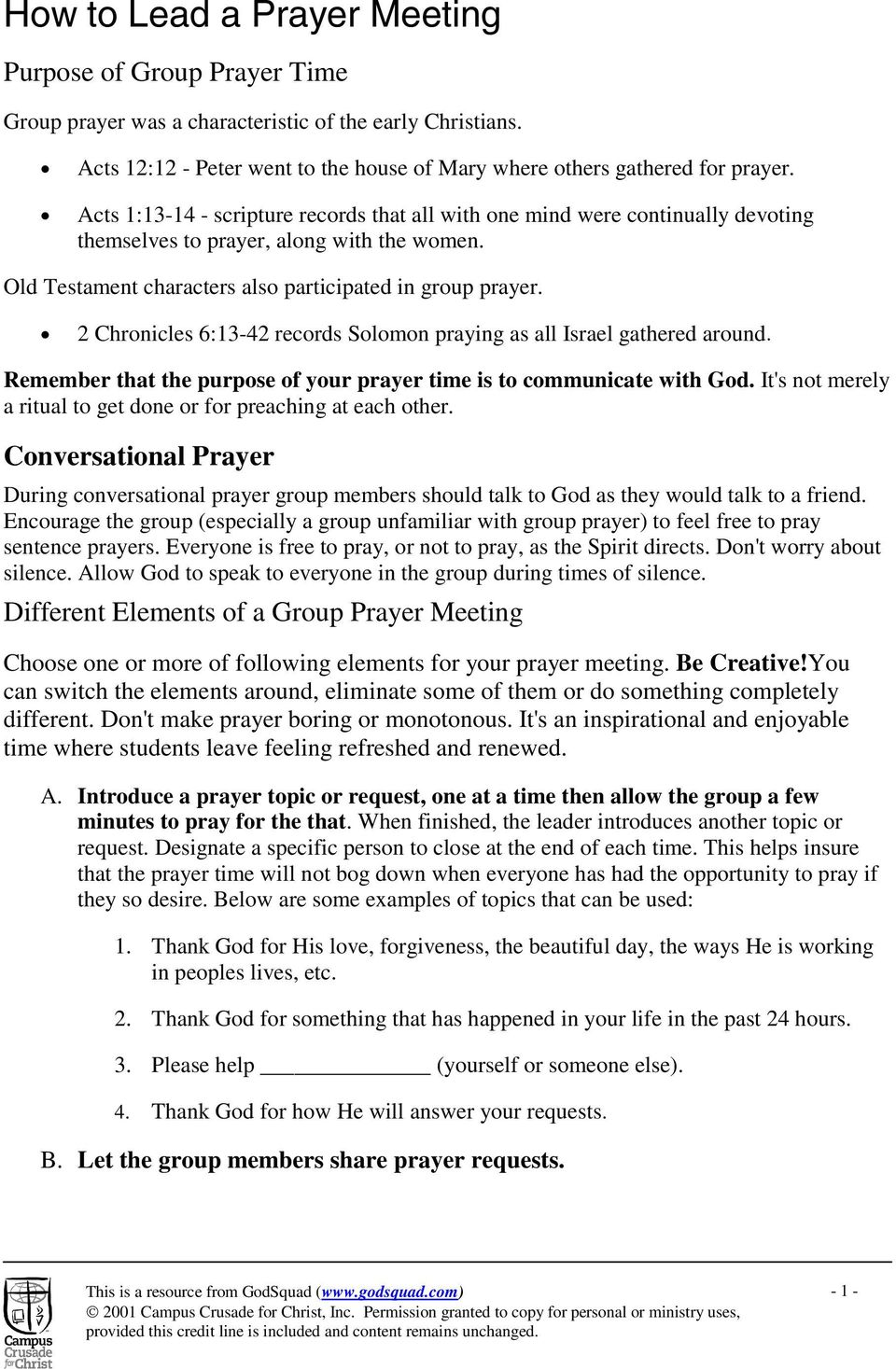 How to Lead a Prayer Meeting - PDF