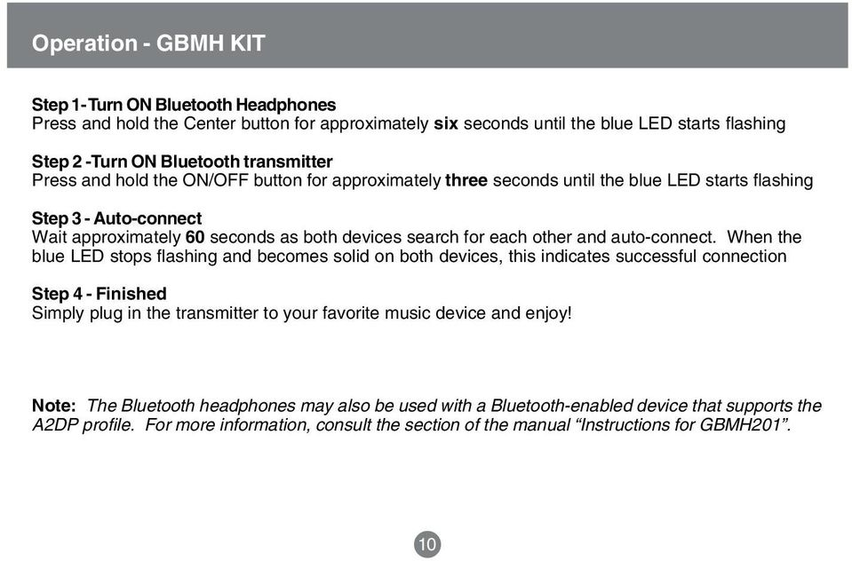 Bluetooth Wireless Stereo Solution  User Manual (GBMA201