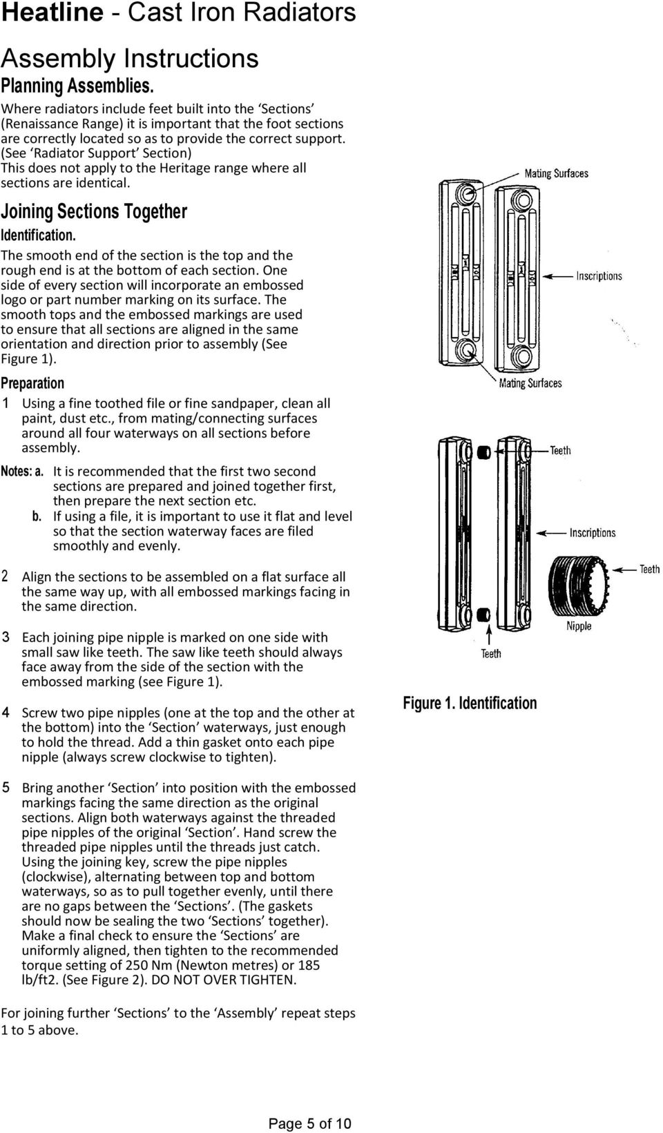 (See Radiator Support Section) This does not apply to the Heritage range where all sections are identical. Joining Sections Together Identification.