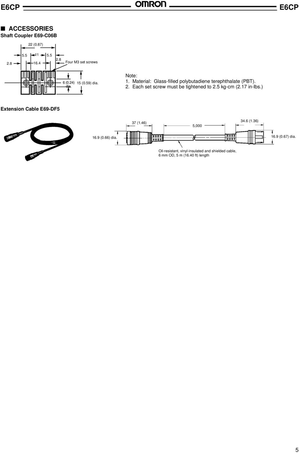 Each set screw must be tightened to 2.5 kg-cm (2.17 in-lbs.) Extension Cable E69-DF5 37 (1.