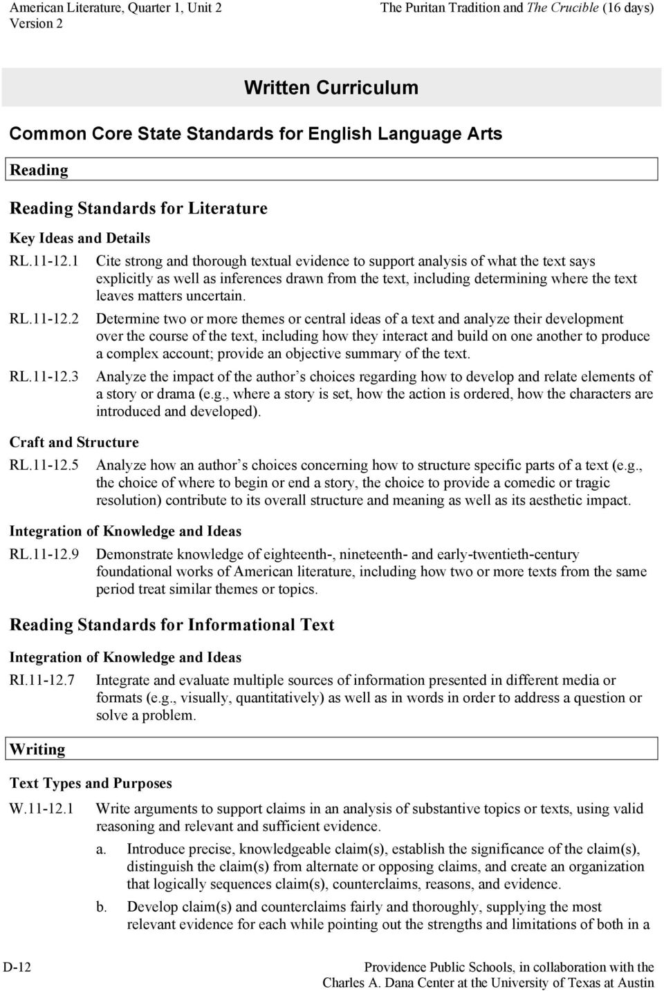 1 Cite strong and thorough textual evidence to support analysis of what the text says explicitly as well as inferences drawn from the text, including determining where the text leaves matters