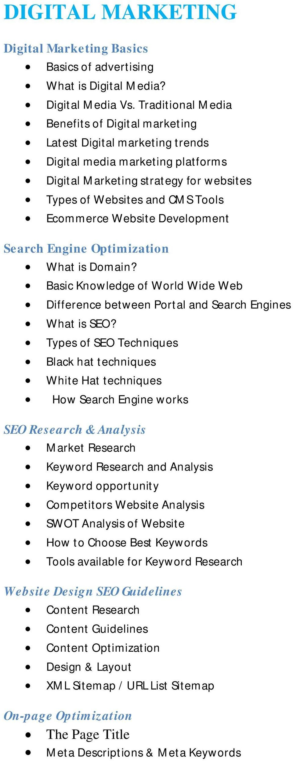 Website Development Search Engine Optimization What is Domain? Basic Knowledge of World Wide Web Difference between Portal and Search Engines What is SEO?