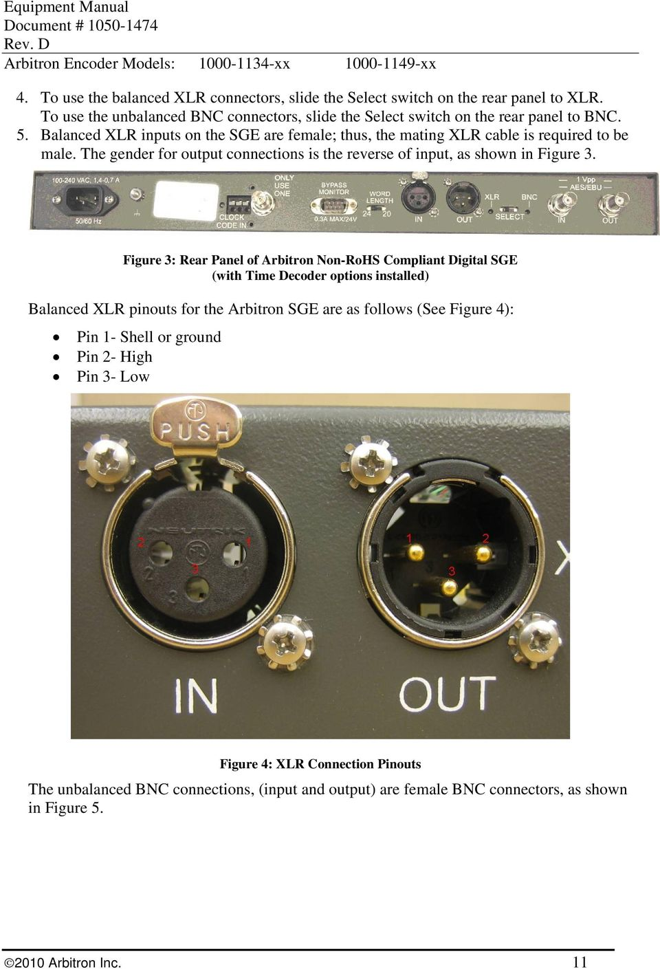 Equipment Manual Encoder Pdf Xlr Connector Wiring Http Buzz Master Com Wp Includes Figure 3 Rear Panel Of Arbitron Non Rohs Compliant Digital Sge With Time 12 5 Bnc Connectors 6 If Using