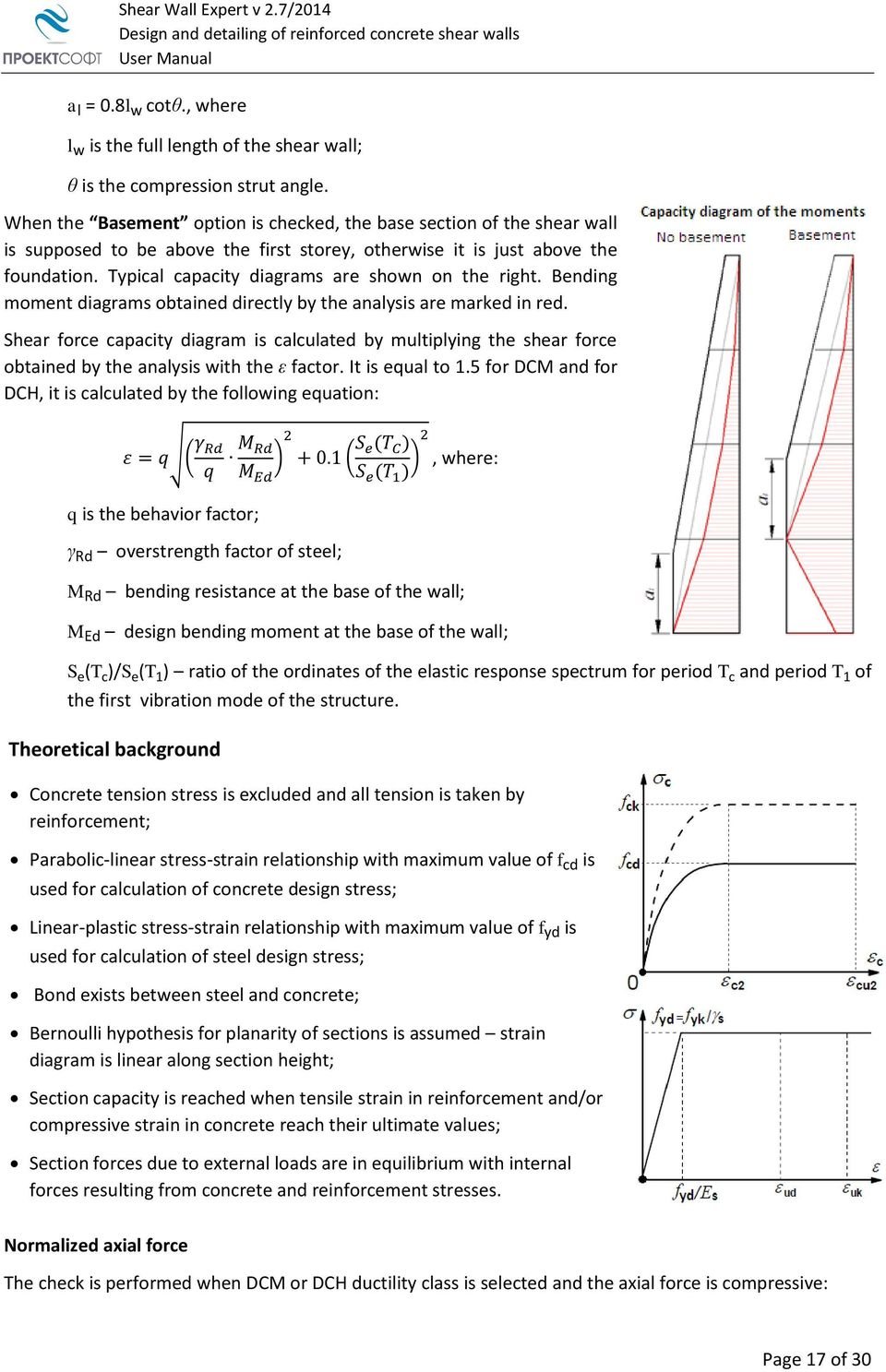 Shear Wall Expert User Manual Pdf For Accessibility Draw Force And Bending Moment Diagram Typical Capacity Diagrams Are Shown On The Right Obtained Directly By