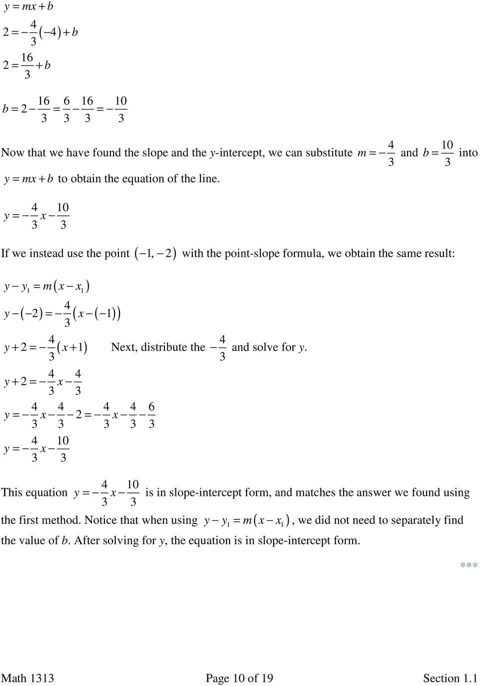 Section 11 Linear Equations Slope And Equations Of Lines Pdf