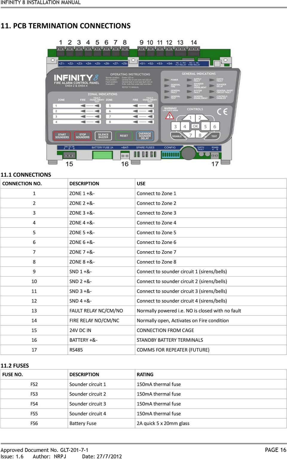 INFINITY 8 INSTALLATION MANUAL FIRE ALARM CONTROL PANEL ... on