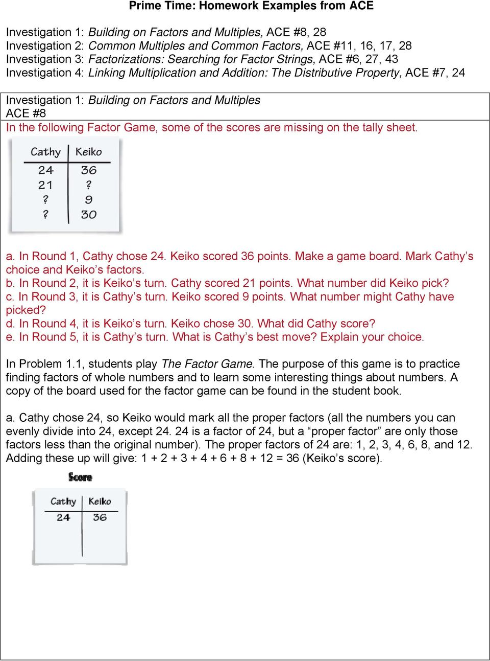 Prime Time: Homework Examples from ACE - PDF