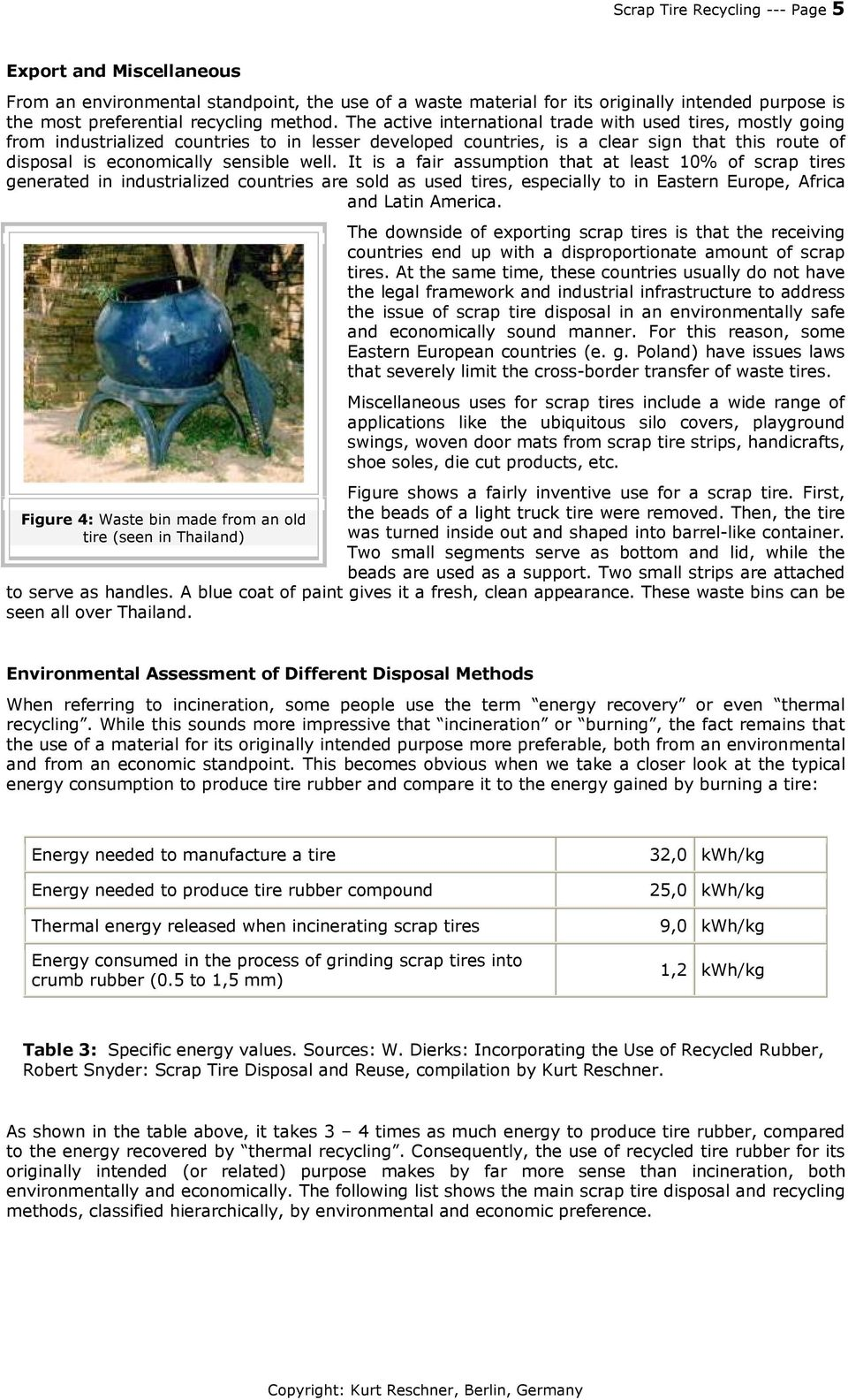 Scrap Tire Recycling  A Summary of Prevalent Disposal and Recycling