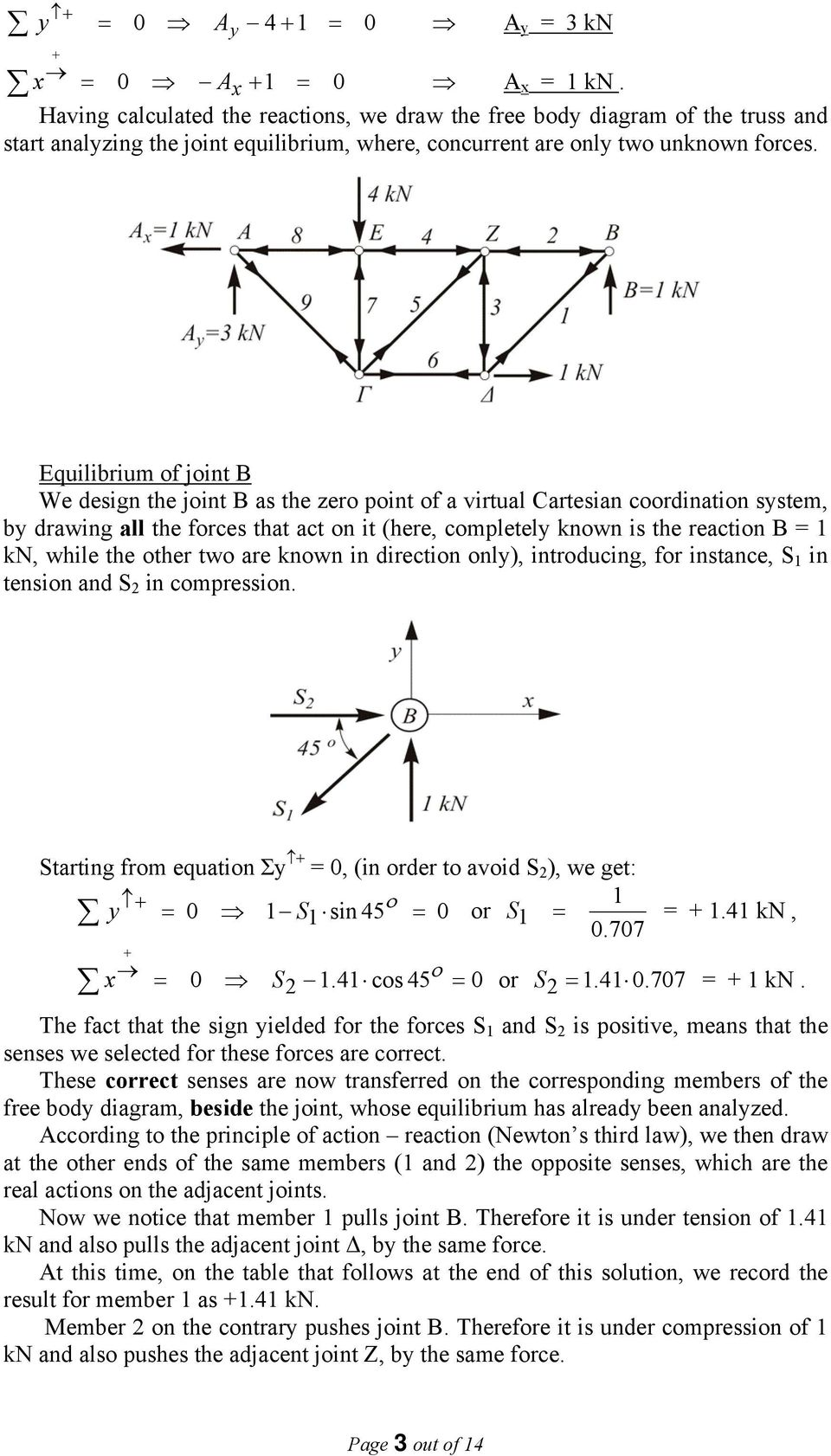 reactions the free body diagram of the truss as a unified structure