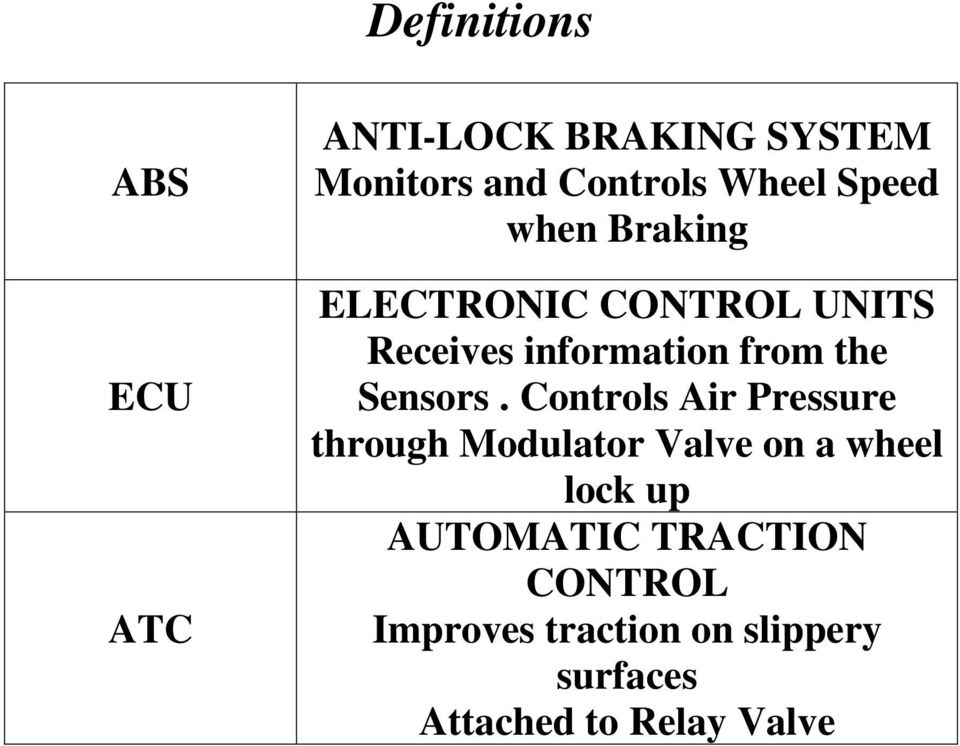 MERITOR WABCO STYLE TRACTOR TRAILER ABS VALVE INFORMATION